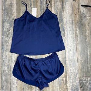 Pajama set camisole & shorts dark blue